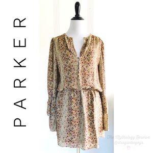 Parker Floral Print Silk Dress